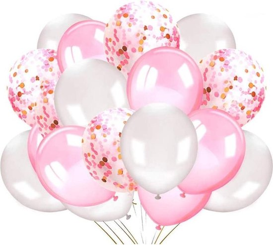 Luxe Helium Ballonnen + 10m Krullend Lint - 24 stuks - Roze - Wit - Confetti - Helium - Verjaardag - Bruiloft
