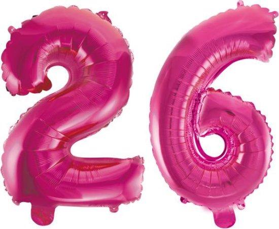 Folieballon 26 jaar roze 41cm