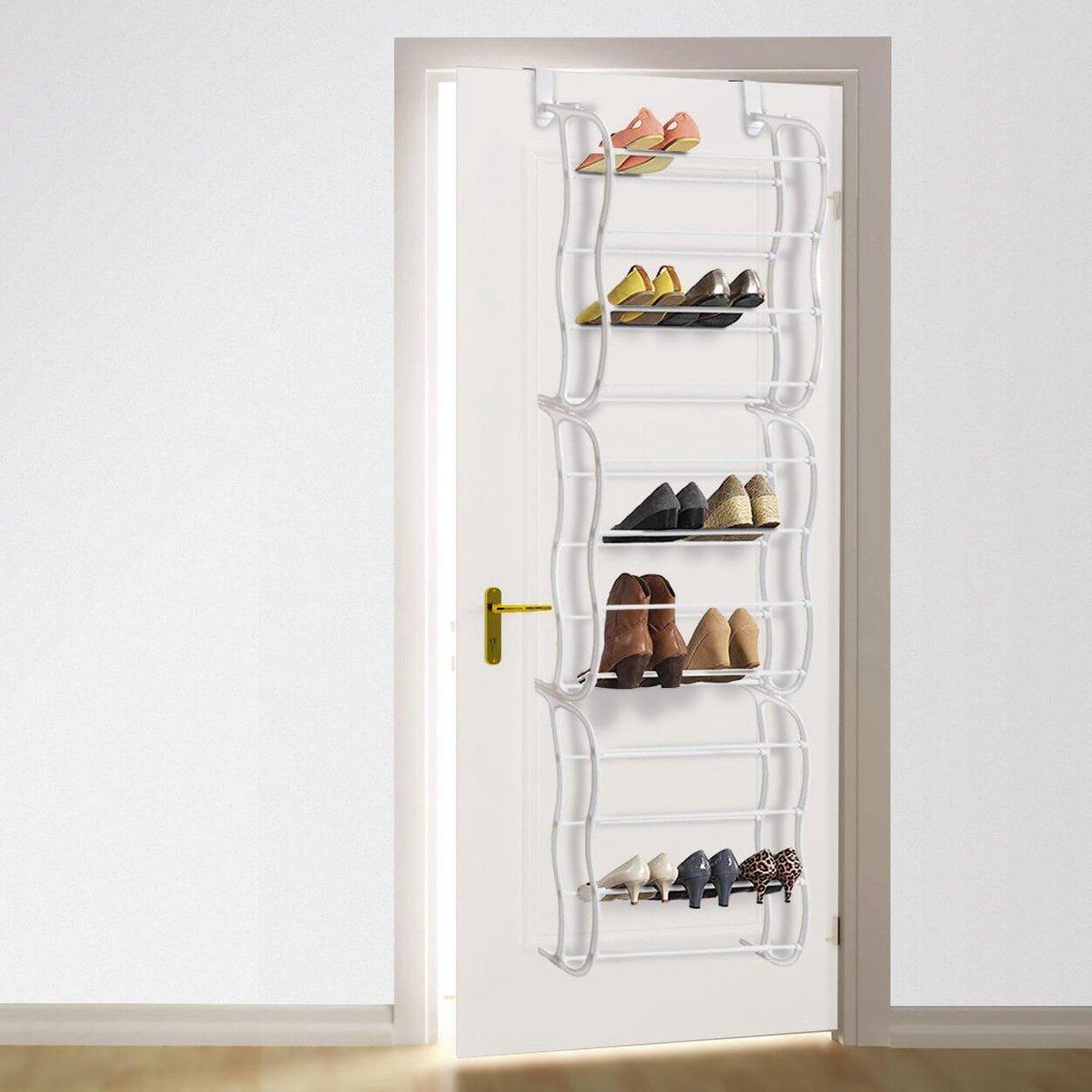 LifeGoods XXL Schoenenrek Deurhanger 12 Laags - Opbergsysteem voor 40 Paar Schoenen - Metaal – Wit