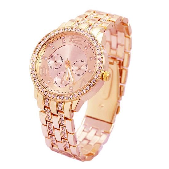 Geneva Dames Horloge RVS Rosekleurig & Kristal Ø 40 mm