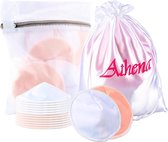 Premium Wasbare Zoogcompressen (12 stuks van 12 cm doorsnede) - Uitwasbare zoogkompressen - Inclusief Wasmachine zakje en Satijnen Opbergzakje| Athena