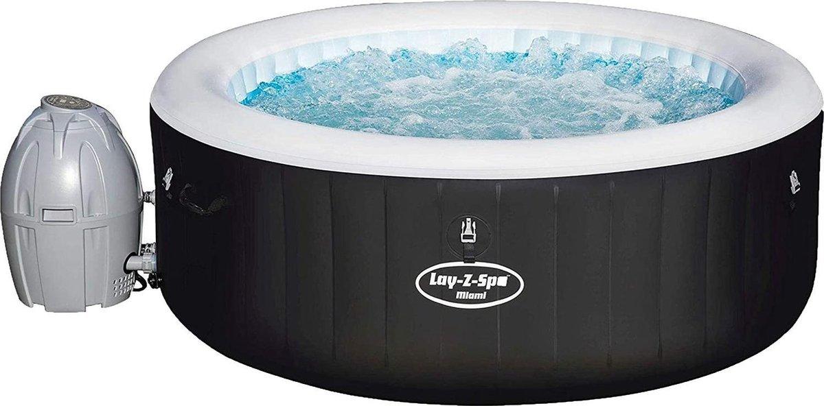 Bestway Lay-Z-Spa Miami JumboJet 2020 - Jacuzzi - Opblaasbaar - Zwembad - Hottub - Zwembadbescherming - Massagefunctie - Zwart - 180 x 66 cm