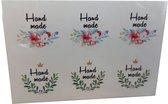 6 stickers 'Handmade' - sluitzegel - cadeau - inpakken- zelfgemaakte producten