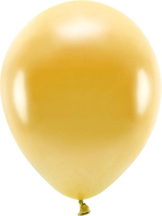 100x Goudkleurige ballonnen 26 cm eco/biologisch afbreekbaar - Milieuvriendelijke ballonnen - Feestversiering/feestdecoratie - Goud thema - Themafeest versiering
