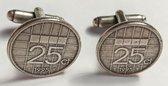 Manchetknopen kwartjes / 25 cent 1995 verzilverd