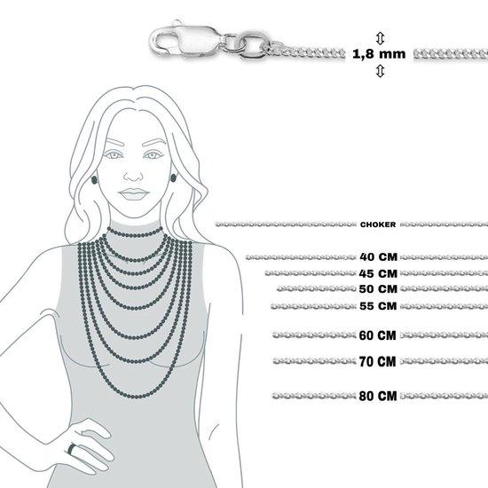 Ketting Dames - 1,8mm - 50cm  - Zilver -Gourmet - Heren - Karabijn sluiting  - Poli - Sieraden Vrouw - Zilver 925 - Gerhodineerd