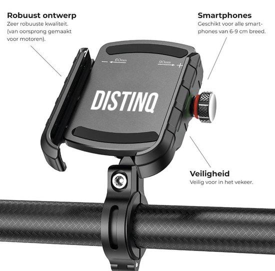 DistinQ Telefoonhouder voor fiets en motor - 360 graden draaibaar – zwart
