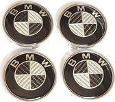 BMW naafdoppen carbon 68mm   [naafkappen - centercaps - naafdeksel - wieldoppen - bmw logo - velgdop - velgen - wielen - 36122455269]