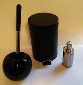 Badkamer set - 3 delig - Toiletborstel, Zeepdispenser, Prullenbak - Hout - Design