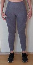 Naadloze sportbroek/-legging met hoge taille voor fitness, yoga, gym - Blauwgrijs - Maat S
