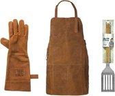 BBQ Schort - gratis handschoen en Jamie Oliver spatel- BBQ accessoires set- Leren Schort Luxe - Barbecueschort - Lederen Schort bruin - Kokschort - Kookschort – Keukenschort