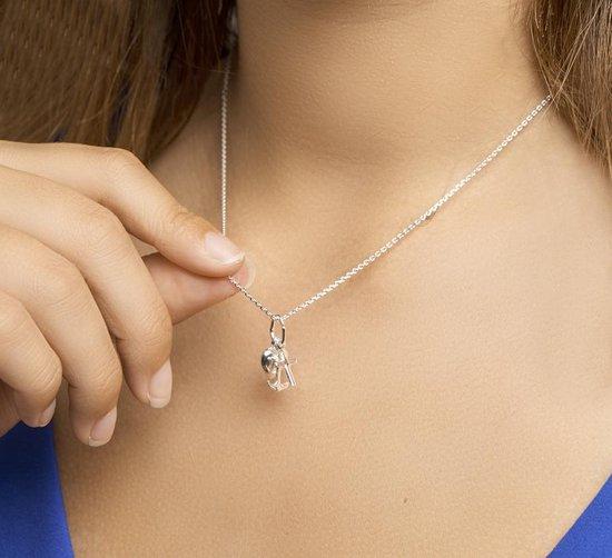 Glams Ketting Geloof, Hoop En Liefde 1,1 mm 41 + 4 cm - Zilver - GLAMS
