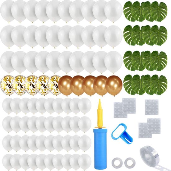 Partizzle® Helium Latex & Confetti Ballonnen Wit Goud Versiering - Bruiloft of Verjaardag Decoratie