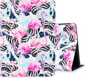 Hoppacase iPad Hoes - Voor de Apple iPad 10.2 inch (2019) A2197, A2198, A2200 - Flamingo's en Vlinders – Smart Book Case