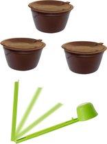 Dolce Gusto capsules koffie cups herbruikbare koffie cups set van 3 met GRATIS maatlepel