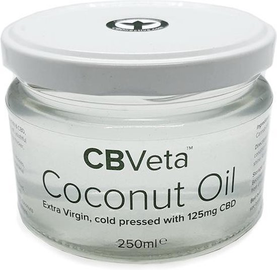 CBVeta Coconut Oil ~ Extra Virgin koudgeperste 100% puur kokosolie met 125mg CBD