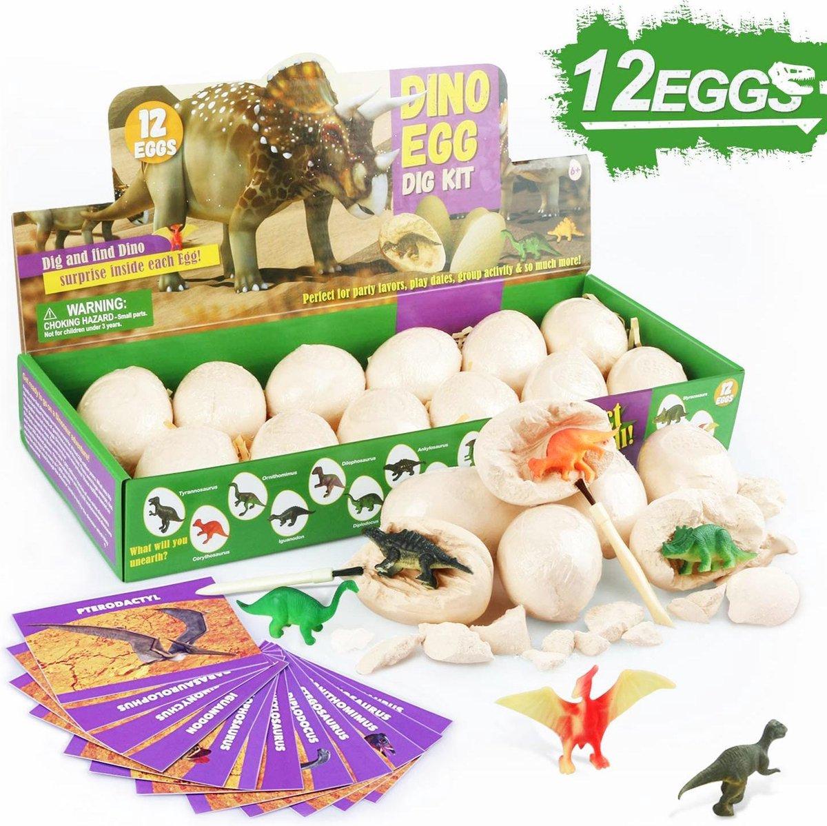 Aeneid Dinosaurus Graaf Kit met 12 Unieke Dino's - Kinderen - Dinosaurus Speelgoed - Cadeau - Verjaardag - Educatief - Dino Eieren Set - 6 Jaar en Ouder