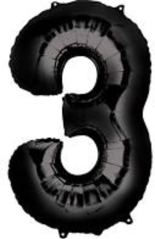 Folie ballon XL cijfer 3 zwart kleur is 50 x 86 cm groot  inclusief een flamingo sleutelhanger