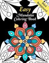 Easy Mandalas Coloring Book Black Background