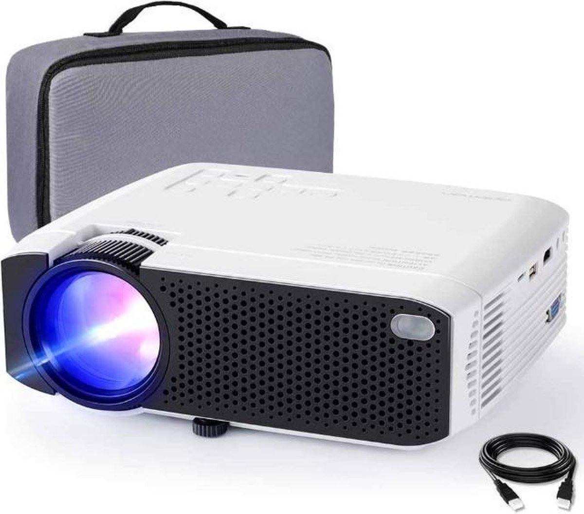 VMCA Beamer Mini Projector Wifi Met Transport Tas - (HDMI VGA AV TF USB WIFI) Wit
