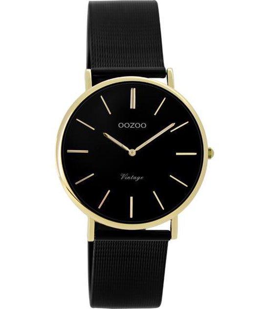 OOZOO Vintage C9894 Zwart Goudkleurig Horloge
