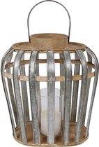 Van Manen Windlicht Ovaal 32x22x35 Cm Hout/metaal Blank