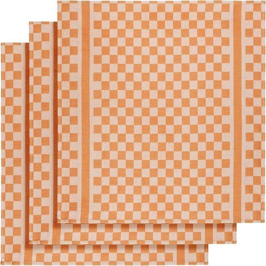 De Witte Lietaer Keukenhanddoek 65x70 Cm Katoen Wit/oranje 3 Stuks