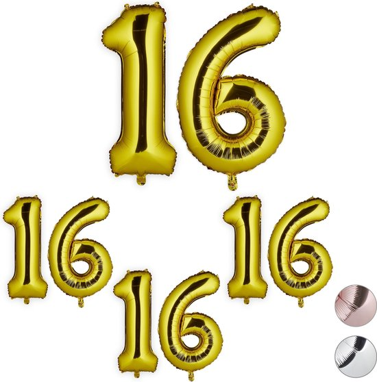 relaxdays 4x folie ballon 16 - cijfer ballon - groot - xxl ballon - verjaardag - goud
