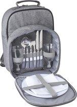 Picknick rugzak picknicktas koeltas - 2 personen -  met servies en bestek - Grijs