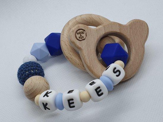 """Bijtring met naam jongen - Baby cadeau jongen - Kraamcadeau jongen-design """"Kees"""" - Bijtring baby - Bijtring hout - Wood & Fun"""
