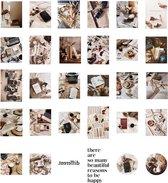 Bullet journal stickers vintage bruin - 60 stuks - cappuccino - camera - quotes - bulletjournal stickers - scrapbook stickers - laptop sticker - telefoon sticker - stickers volwassenen - stickervellen