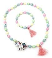 Kinderketting en armband voor meisjes kunststof kraaltjes in pastelkleuren unicorn en kwastje