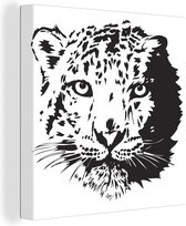 Illustratie van de kop van een sneeuwpanter canvas 50x50 cm - Foto print op Canvas schilderij (Wanddecoratie woonkamer / slaapkamer) / Wilde dieren Canvas Schilderijen