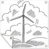 Zwart-wit illustratie van een getekende windmolen tuinposter 120x160 cm - Tuindoek / Buitencanvas / Schilderijen voor buiten (tuin decoratie) XXL / Groot formaat!