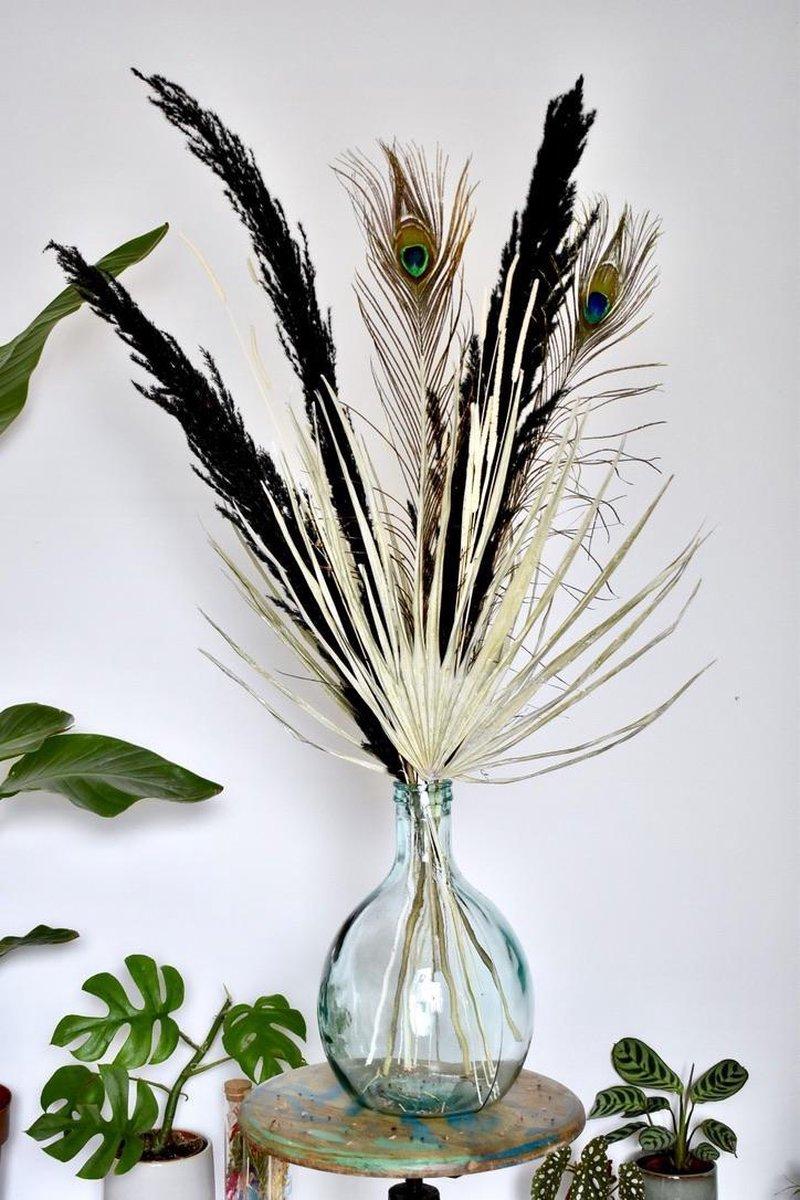 Droogbloemen Boeket   Pampas pluimen Zwart   Pauwenveer   Palmblad   70  - 100 cm   Gedroogde bloeme