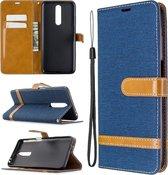 Voor xiaomi redmi k30 kleuraanpassing denim textuur horizontale flip lederen case met houder & kaartsleuven & portemonnee & lanyard (donkerblauw)