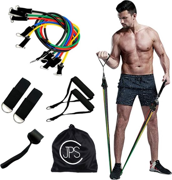 JPS Sports Weerstandsbanden Set - Weerstandselastiek - Resistance Tubes - Resistance Bands - Fitness Elastiek - 5 Elastieken Set met Handvatten en Deurstopper