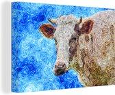 Een abstract olieverf schilderij van een koe canvas 180x120 cm - Foto print op Canvas schilderij (Wanddecoratie woonkamer / slaapkamer) XXL / Groot formaat!