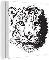 Illustratie van de kop van een sneeuwpanter canvas 90x90 cm - Foto print op Canvas schilderij (Wanddecoratie woonkamer / slaapkamer) / Wilde dieren Canvas Schilderijen