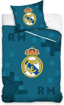 Real Madrid C.F. - Dekbedovertrek - Eenpersoons - 140x200 cm + 1 kussensloop 70x80 cm - D. Blauw - Dekbed