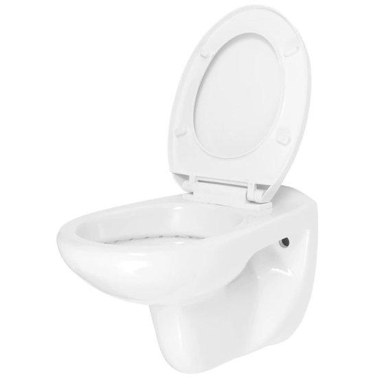 vidaXL Hangend toilet met soft-close toiletbril keramiek wit