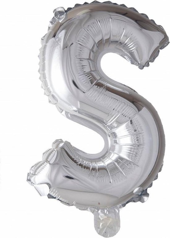 Folie Ballon Letter S Zilver 41cm met Rietje