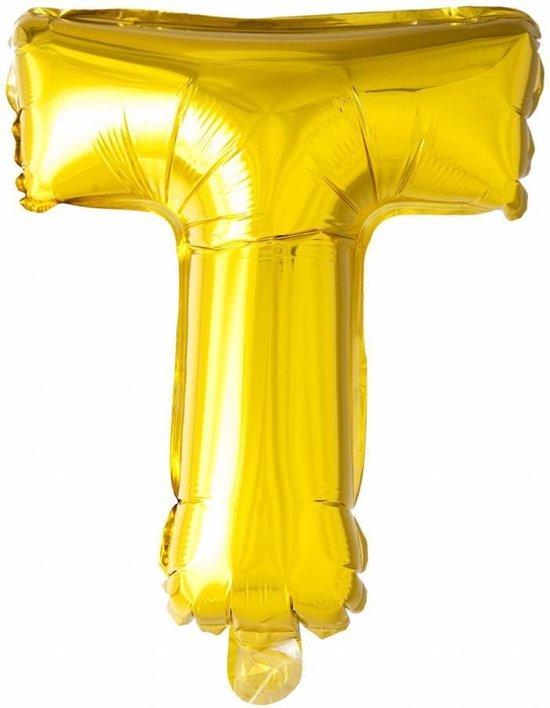 Folie Ballon Letter T Goud XL 86cm leeg