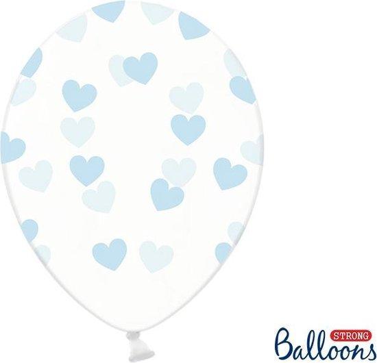 Partydeco 6 Ballonnen in zak hartjes crystal - Blauw 30cm