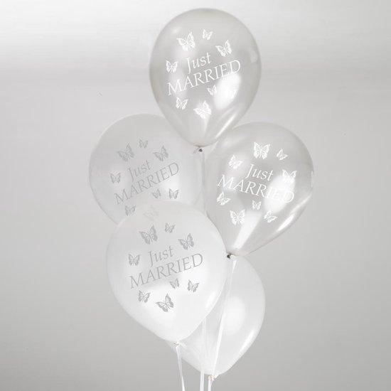 Neviti Ballonnen Elegant Butterfly wit-zilver - 8 stuks