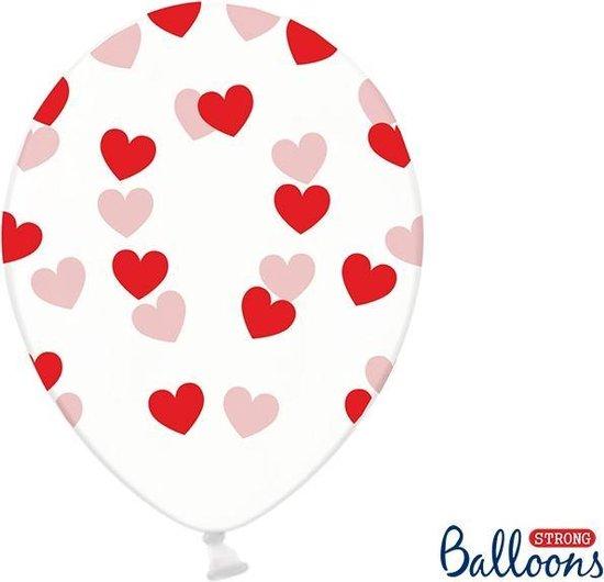 Partydeco 6 Ballonnen in zak hartjes crystal - Rood 30cm