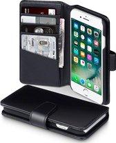 Hoesje geschikt voor Apple iPhone SE (2020), iPhone 8 en iPhone 7, MobyDefend Luxe echt lederen 3-in-1 bookcase, Zwart