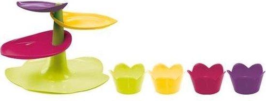 Zak!Designs Sweety Etagere groot met 4 Cupcake Vormpjes - Flora
