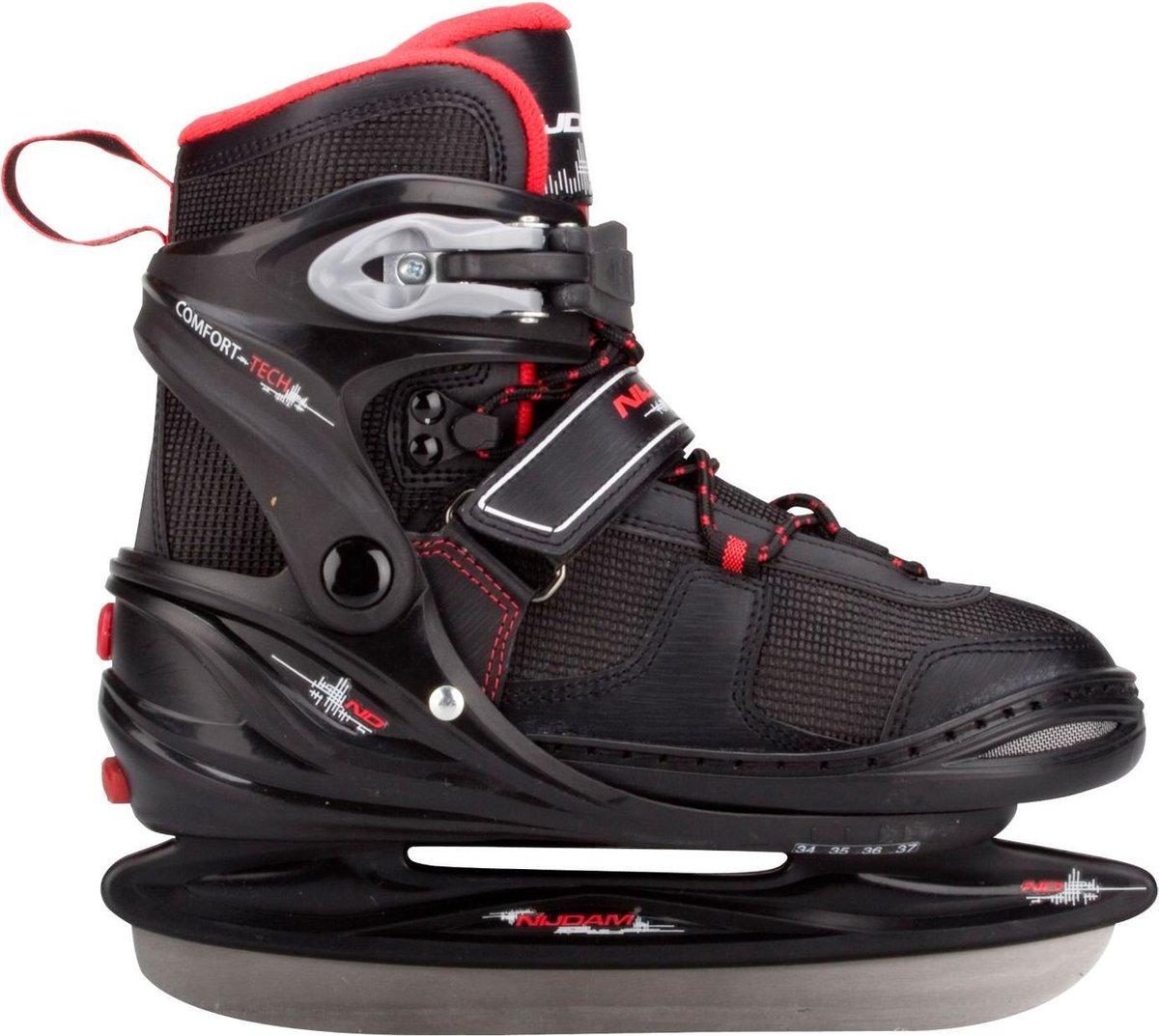 Nijdam 3135 Junior IJshockeyschaats - Verstelbaar - Semi-Softboot - Rood/Zwart - Maat 34-37