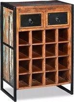 vidaXL Wijnrek voor 16 flessen massief gerecycled hout